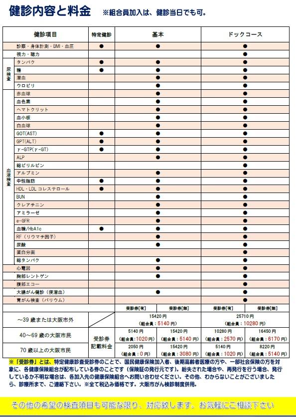 健診価格表01